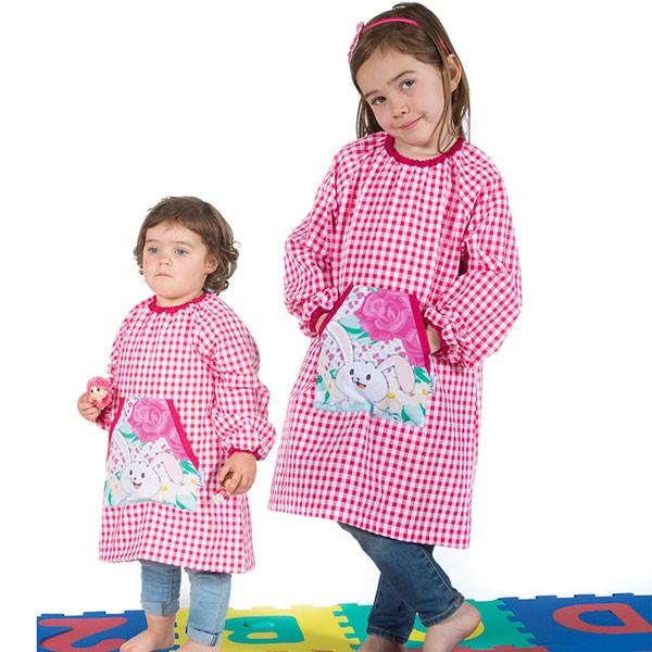 Babi escolar bordado rosa para niña