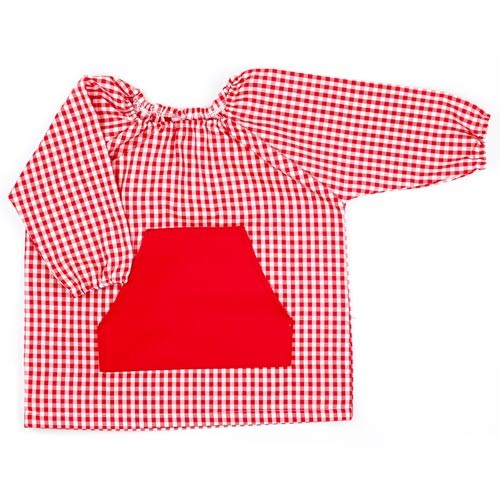 Bata de guardería bordada Rojo