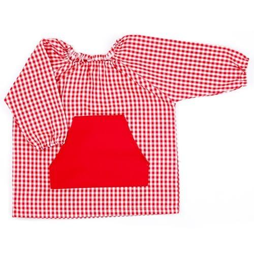 Bata de guardería vichy rojo
