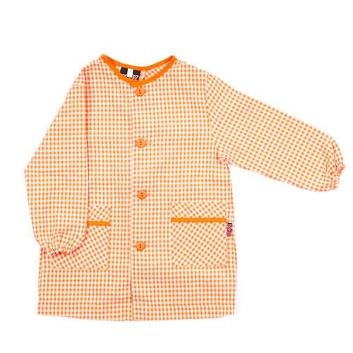 Bata de guardería con botones naranja