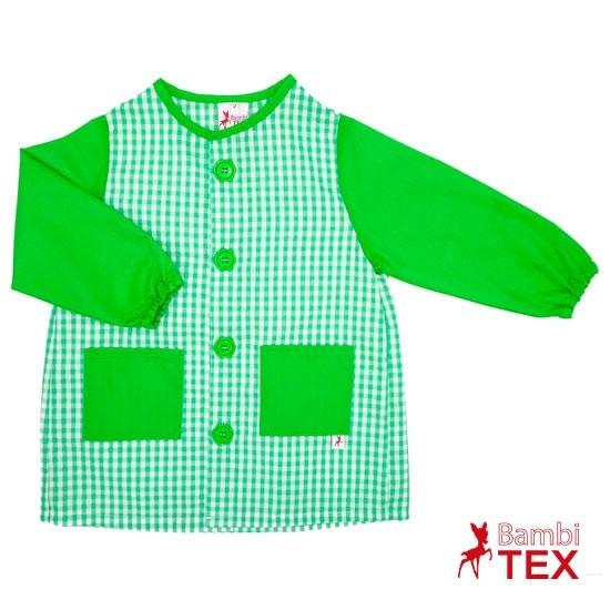 Bata para guardería con botones verde