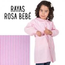 Bata de escuela rayas rosa bebé